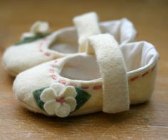 Baby Girl Shoes - Ivory and Pink Wool Mary Jane - Christening - Flower Girl by TillyWhistle on Etsy