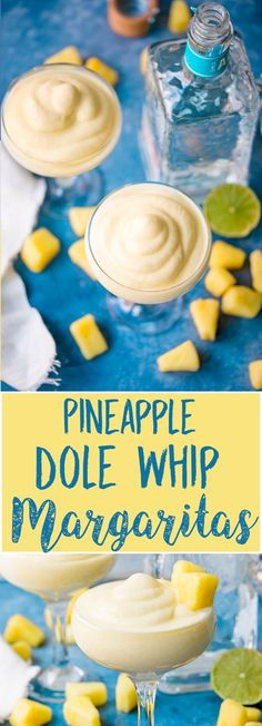 Pineapple Dole Whip Margarita I'm totally lacing that innocent Disney Dole Whip treat with Tequila and lime! Find out how to get that perfect creamy whipped texture! Party Drinks, Cocktail Drinks, Fun Drinks, Healthy Drinks, Cocktail Recipes, Best Drinks, Dole Whip Recipe, Pineapple Margarita, Dole Pineapple Whip