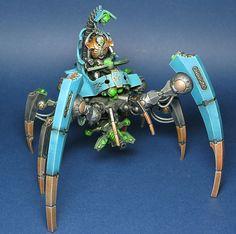 Painted Necron Triach Stalker - This looks amazing! Warhammer 40k Necrons, Warhammer Games, Warhammer Figures, Paint Schemes, Colour Schemes, Biscuit, Deathwatch, Imperial Fist, Mini Paintings