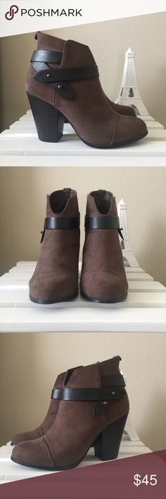 Taupe Booties The perfect faux suede taupe heeled booties! Just slip them on and you're ready to go! They look like a similar pair from Rag & Bone without breaking the bank! Color comes off more brown in photos.  🌵 Forever 21 🌵 Size 5.5 🌵 Gently worn! Forever 21 Shoes Ankle Boots & Booties