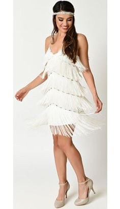 Vintage 1920s Style White Beaded Tiered Fringe Flapper Dress