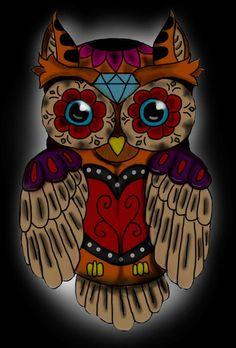 Owl & sugar skull tattoo