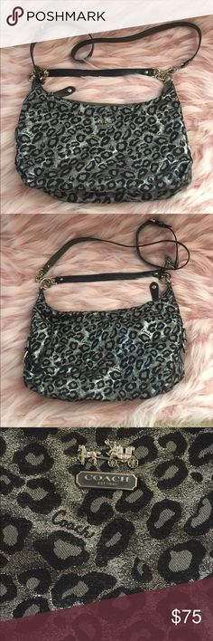 Coach silver metallic cheetah print Coach silver metallic threaded cheetah print! Has a shoulder strap and a crossbody strap! Great for shopping or traveling! Great condition! Coach Bags Shoulder Bags