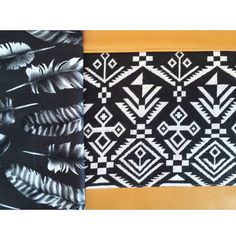fold over clutch with leather bottom Aztec by babymamasewshop