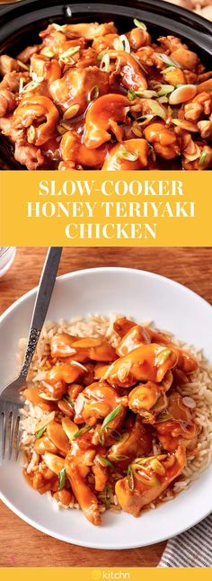 This slow cooker honey teriyaki chicken recipe is one you can't pass up for dinner. This dish is super easy as your crockpot will be doing most of the work for you in this weeknight dish. Combining boneless, skinless chicken thighs, yellow onion, garlic, tamari or soy sauce, honey, rice vinegar and fresh ginger, you have you slow cooked dish at the ready for munching.