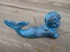 Mermaid Nursery Decor: Cast Iron Shabby Chic Mermaid Shelf Decor