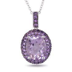 Rose De France Amethyst and Purple Amethyst Pendant Necklace