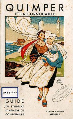 """Couverture du guide du Syndicat d'initiative de Cornouaille (1949) Cette illustration de Marguerite Chabay montre l'assimilation de l'image de la Bretagne à celle de la Bigoudène. Elle porte le ''manchou'' brodé et la haute coiffe, typique du ''Pays"""", postérieure à la Seconde guerre mondiale. La présence des sabots est un élément anachronique, venant renforcer l'image d'une Bretagne typique."""