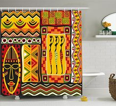 Fabric Bathroom Decor Set with Hooks Ambesonne Modern Decor Shower Curtain by Circus Theme Rainbow Colored Image Bold Stripes with Blank Background Image 84 Inches Extra Long Multicolor