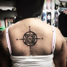 Compass with symbol in middle and initial! tattoos tattoo art ink i.