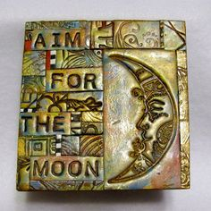 Aim For The Moon Polymer Clay Tile Mosiac by Arlene Harrison of ashpaints on Etsy