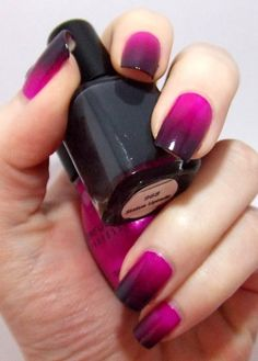 Bright purple and deep grey gradient nail art design (Sinful Colors Dream On, Color Club Status Update)