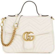 Gucci GG Marmont Small Leather Shoulder Bag (7.875 BRL) ❤ liked on Polyvore featuring bags, handbags, shoulder bags, leather handbags, white leather handbags, genuine leather handbags, gucci purse and white handbag