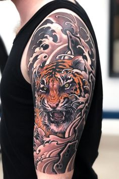Traditional Japanese Arm Tattoo Designs - Best Japanese Tattoos For Men: Cool Japanese Style Tattoo Designs and Ideas For Guys: Asian Body Art on Sleeve Arm Chest Forearm Back Shoulder and Leg Japanese Tiger Tattoo, Japanese Tattoos For Men, Japanese Dragon Tattoos, Traditional Japanese Tattoos, Japanese Tattoo Designs, Japanese Sleeve Tattoos, Tattoo Japanese Style, Dragon Tattoos For Men, Japanese Tattoo Symbols