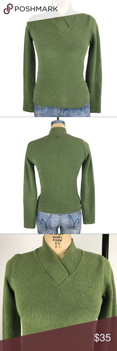 """Prana chenille green sweater Excellent used condition. Cozy chenille fabric. approximate measreuments:  bust: 15.5 sleeve from upper arm shoulder seam: 23.75 length from back top of collar: 24"""" Prana Sweaters"""