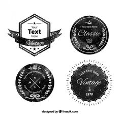 Badge collection in grunge style Free Vector