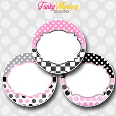 INSTANT DOWNLOAD Editable Pink and Black by FMDFunkyMonkeyDesign