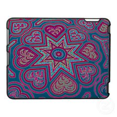 BLUE FOLK ART HEART iPAD CASE, by The Flying Pig Gallery on Zazzle (lizadeyphoto) - This pretty iPad case features a pattern of blue Folk Art-inspired hearts. Great for any occasion.