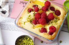 Ricottaauflauf mit Himbeeren Oatmeal, Pudding, Eat, Breakfast, Desserts, Food, Pistachios, Raspberries, Easy Meals