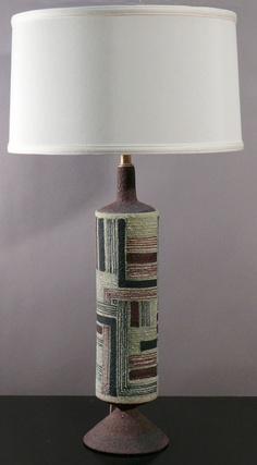 Guido Gambone; Ceramic Table Lamp for Raymor, 1950s.