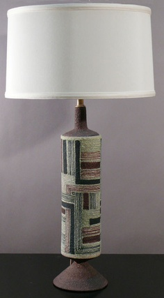 Guido Gambone; Ceramic Table Lamp for Raymor, 1950s.