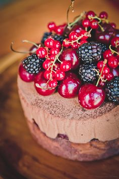 Black Forest Chocolate Mousse Cake topped with seasonal fruit..so pretty for Christmas or Valentines Day.