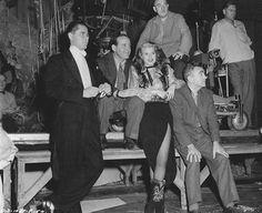 Rita Hayworth on the set of Gilda with costar Glenn Ford, 1946.