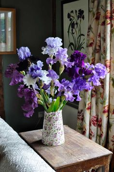Beautiful arrangement of bearded irises in shades of blue and purple