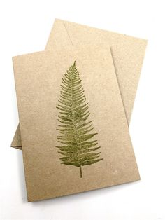 Fern Note Cards - Blank - Hand Printed Brown Kraft Card Stock - Set of 5 on Etsy, $6.00