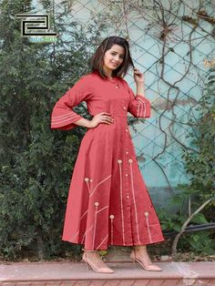 Style Array Present Maroon Color Slub Cotton Fabric Fashionable Kurti With Embroidery Work.This is Full Stitched Kurtis can be stitched according to your size and measurements. buy - Red Color Slub Cotton Fabric Fashionable Kurti With Embroidery Work Red Frock, Cotton Anarkali, Fancy Kurti, Kurti Styles, Long Kurtis, Ethnic Gown, Lehenga Online, Kurti Patterns, Kurti Designs Party Wear
