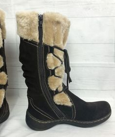 e1b26ce3779 Womens Bare Traps Elicia Boots Brown Tan Suede Leather Faux Fur Lined  Winter Size 8M