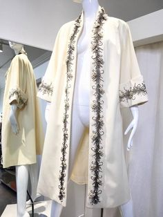 1950s Lilli Ann creme embellished swing coat