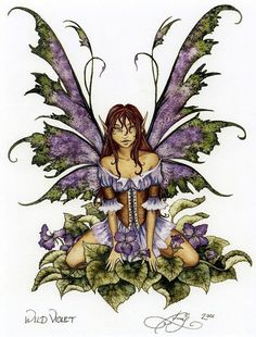Wild Violet Fairy Print from 2001 by Amy Brown. Measures 8-1/2 x 11 inches. Retired.