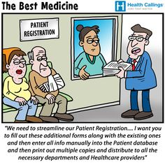 Streamlining patient registration cartoon via healthcallings.com