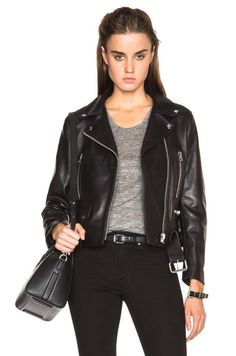 SEEN ON RIHANNA! Acne Studios Mock Leather Biker Jacket size 34