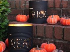 tin cans This makes a good addition to your jack-o-lantern displays. Just take a large tin can, like a coffee can,  empty it out and remove the label.  Next, paint the outside black and poke holes in it to spell out your Halloween sentiments. Then put a candle or tea light on the inside and watch your words come to life in the dark!  See? Just a couple of low-cost ways to add some Halloween ummphh to your decorations. When it comes to crafts, the only limiting factor is your imagination!