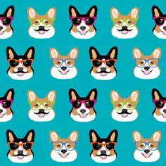 90189630e40b Corgi Fabric - Corgi Glasses And Mustaches Corgi Dog Fabric By Petfriendly  - Blue Corgi Cotton Fabric by the Yard With Spoonflower