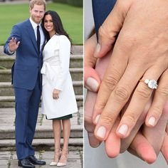 Megan Markle's engagement ring. The centre stone is from Botswana, and the two side stones are from Princess Diana's personal collection. The gold and diamond ring was made by Cleave and Company, Court Jewellers to Her Majesty The Queen. British Royal Family engagement rings: the story behind Meghan Markle's diamonds