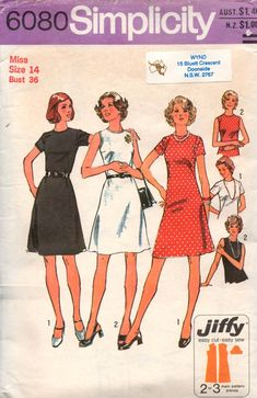 Simplicity 6080 Womens JIFFY Shift Dress 70s Vintage Sewing Pattern Size 14 Bust 36 inches