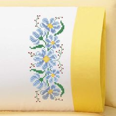 Herrschners® Dreamy Daisies Pillowcase Pair with Cuff Stamped Cross-Stitch