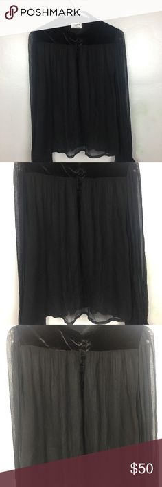 "FRAME DENIM Victorian Sheer Chiffon Blouse FRAME DENIM Black Victorian Sheer Chiffon Silk Shirt Blouse Top Velvet  pit to pit 26.5"" length 21.5""   excellent pre owned condition Frame Denim Tops Blouses"