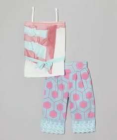 This Blue & Pink Ruffle Tank & Capri Pants - Infant, Toddler & Girls by Trish Scully Child is perfect! #zulilyfinds