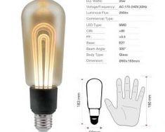 LED žiarovka T60 Filament - MODERN - E27, 5W, 250lm, Teplá biela.