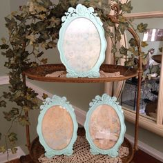 Aqua Oval Rosette Frame Set Of Three Frames Upcycled Shabby Chic 3
