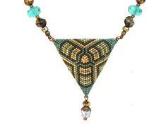 OOAK Triangle pendant   turquoise Indian summer 2   by LeeMarina, $48.00