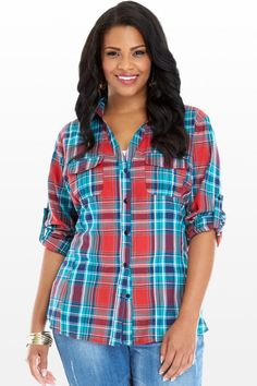 Plus Size Dixon Button Down Plaid Shirt Trendy Plus Size Clothing, Plus Size Outfits, Curvy Fashion, Plus Size Fashion, Fashion To Figure, Plus Size Tops, Shirt Style, Plaid, Button