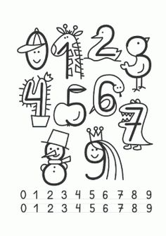 drawing drawing for kids Free idea Cute Drawings For Kids, Drawing Lessons For Kids, My Drawings, Number Drawing, Drawing Drawing, Numbers For Kids, Math Numbers, Math For Kids, Writing Activities