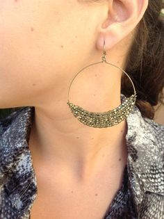 $19 Brushed gold hoop earrings with brushed gold beads