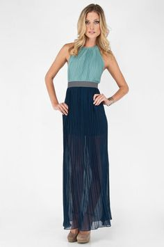 It Takes Two Dress in Mint and Navy $43 at www.tobi.com