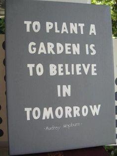"""To plant a garden is to believe in tomorrow.""  —Audrey Hepburn"